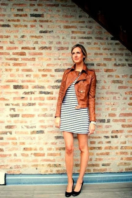Leather jacket black and white skirt with black shoes