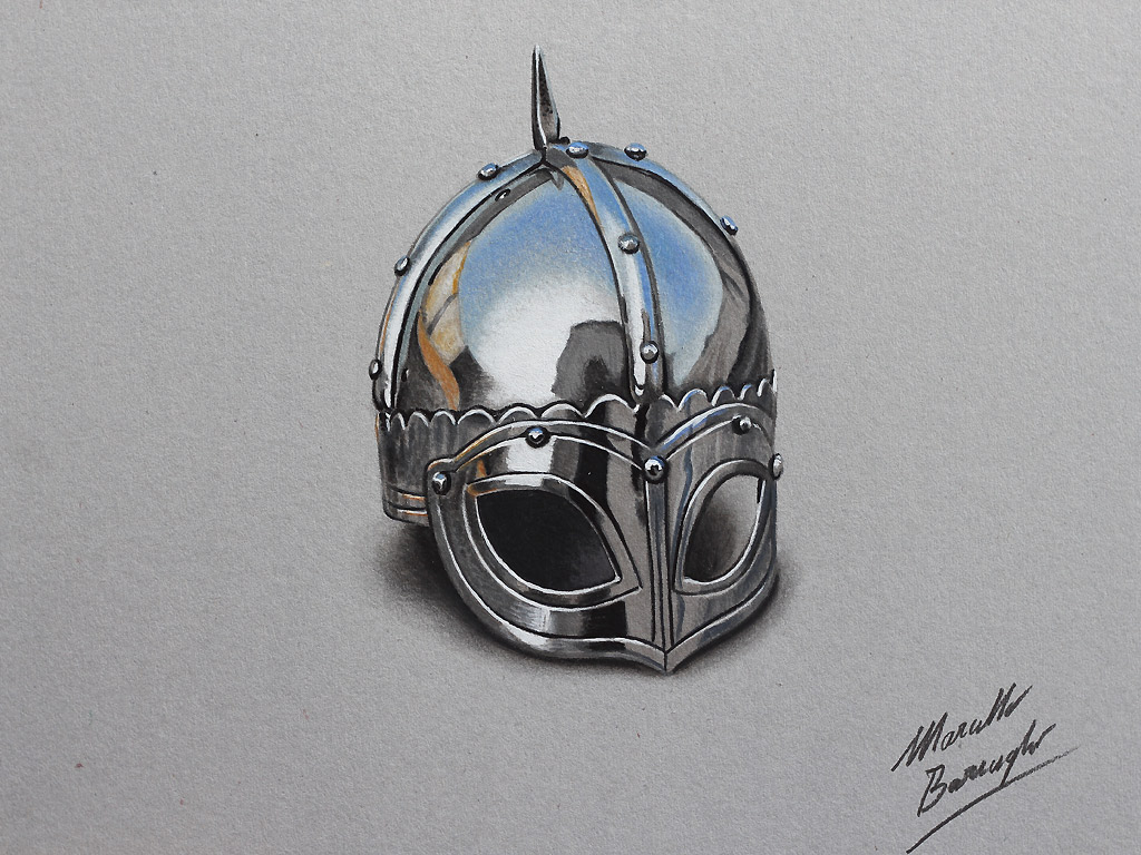 Marcello barenghi viking helmet drawing for Viking pencils