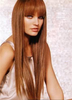 peinado de fiesta tambin de moda pelo muy largo liso con flequillo recto