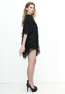 Vintage 1970's black fringe flapper style disco dress.