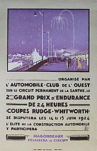 Affiche officielle des 24 Heures du Mans 1924