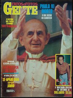Capa da Revista Fatos e Fotos Gente - de 21 de agosto de 1978 nº 887 -  Foto Papa Paulo VI