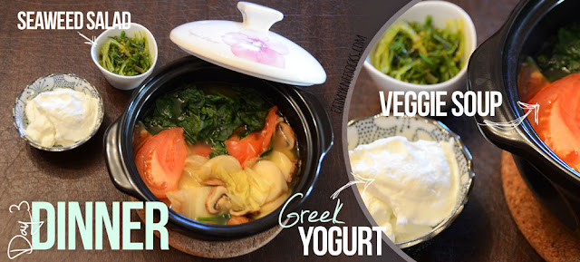 NutriClean Diet, Day 3 Dinner: mixed Korean vegetable stew, Fage Greek yogurt, and seaweed salad.