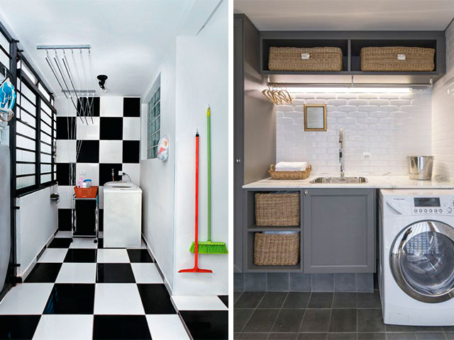 lavanderia com piso xadrez e móveis pintados