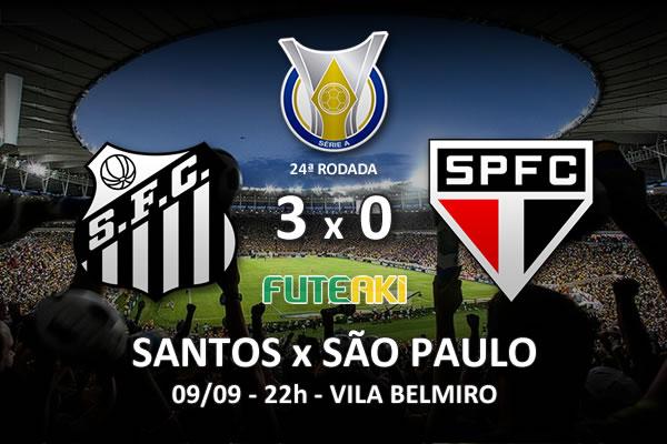 Veja o resumo da partida com os gols e os melhores momentos de Santos 3x0 São Paulo pela 24ª rodada do Brasileirão 2015.