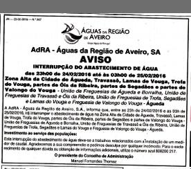CORTE NA REDE DE ABASTECIMENTO DE ÁGUA