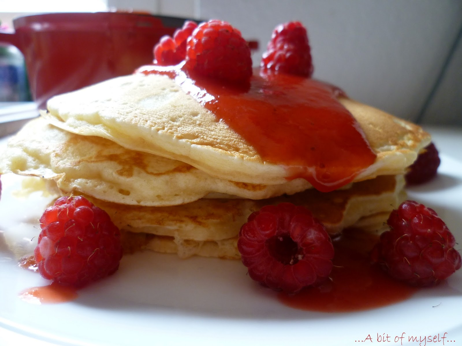 strawberry syrup and raspberry pancakes!