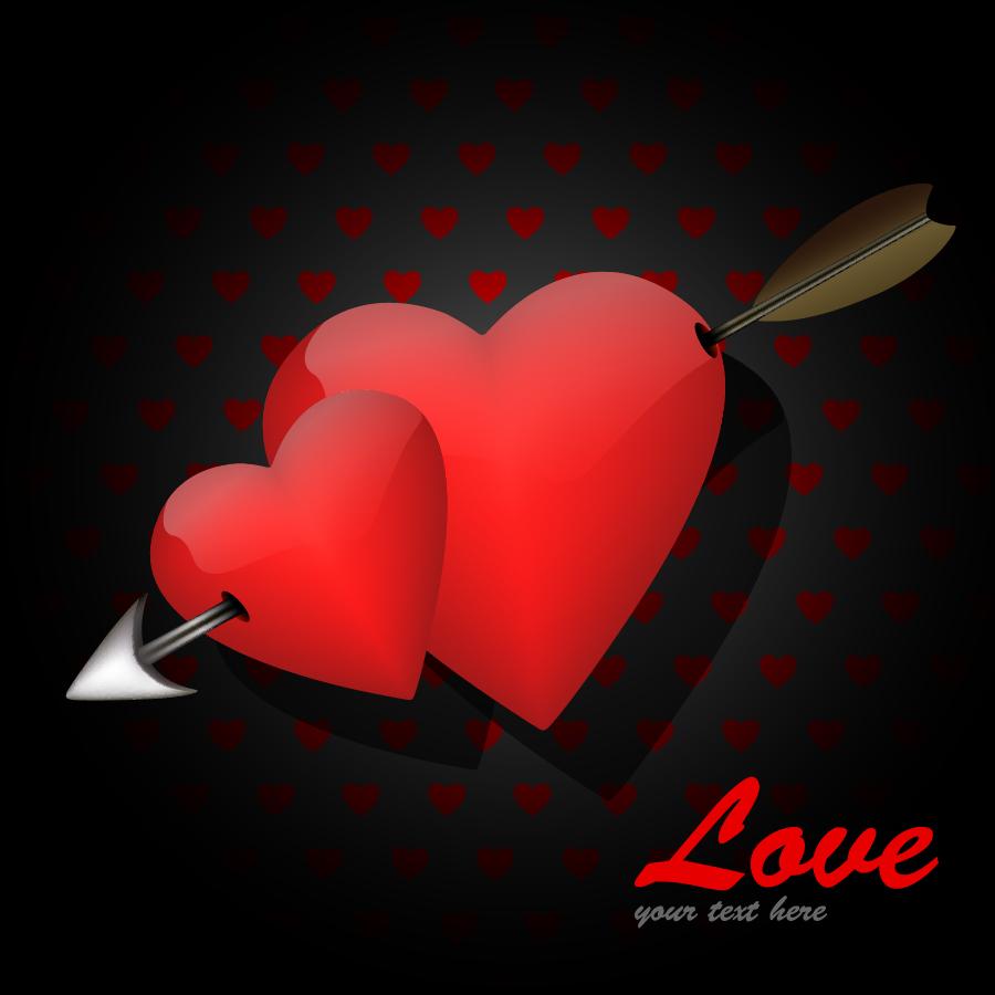 矢で射抜いた赤いハート Heart Love Card For Valentine's Day イラスト素材