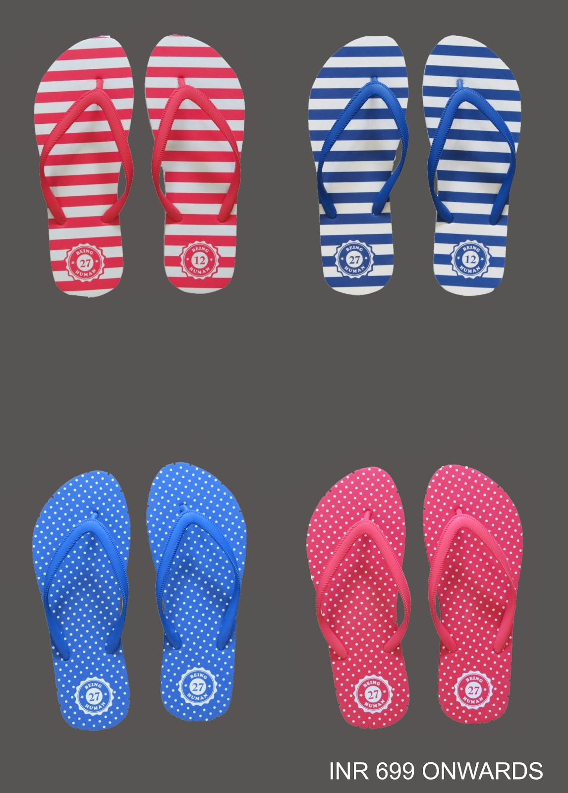 Nautical inspired stripes and dotted slippers