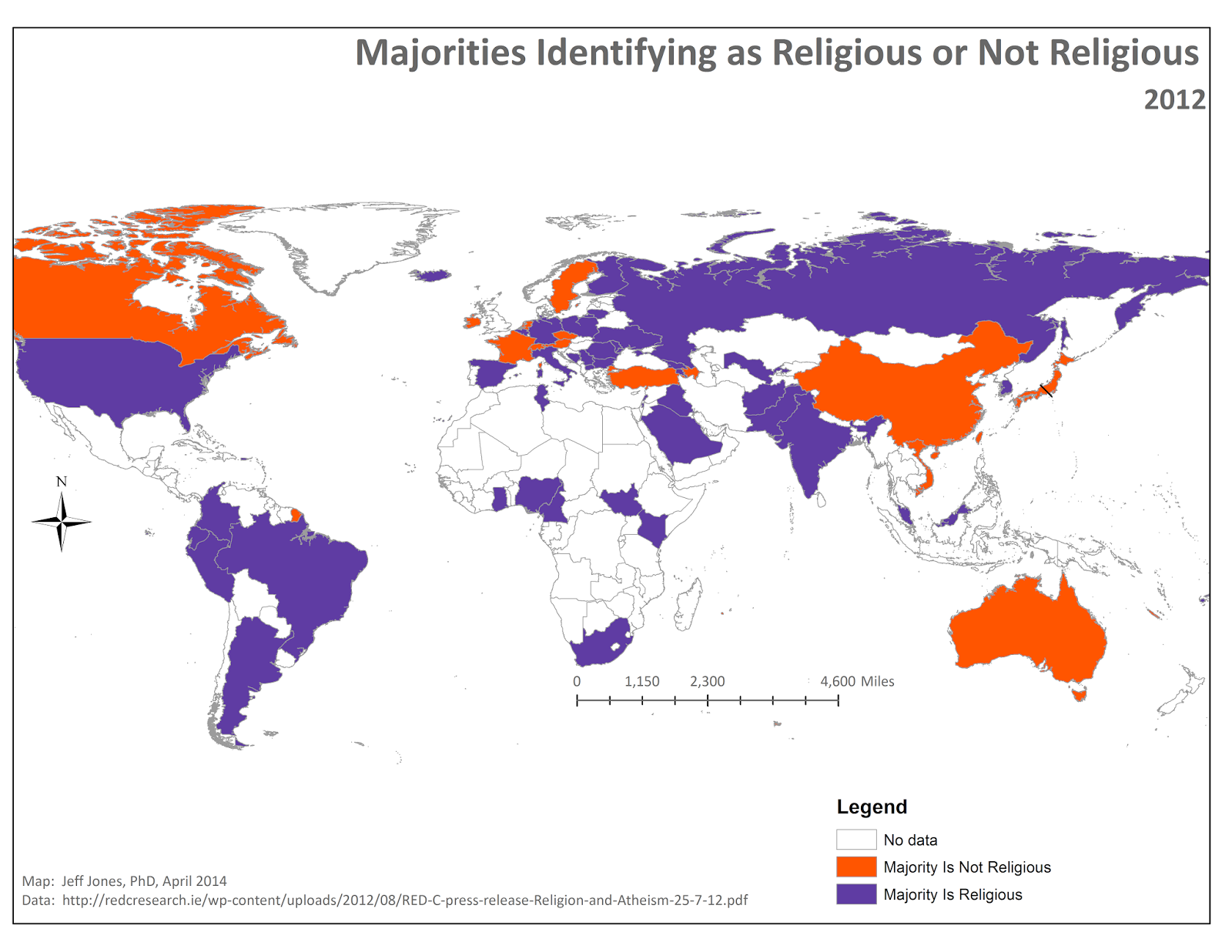 Middling America Religious Vs NonReligious Countries - Religion map of world 2014