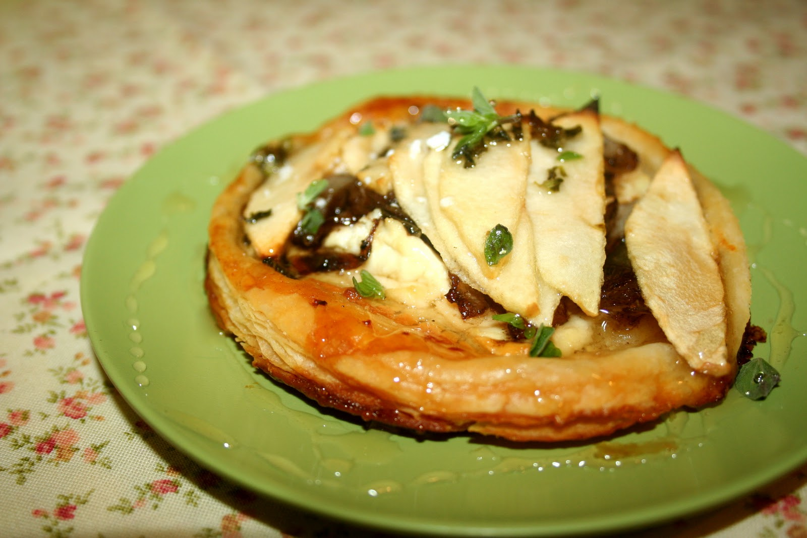 apple and goat cheese tartlets with caramelized onions and honey ...