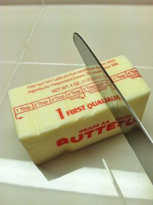 Measuring a TBSP on stick butter