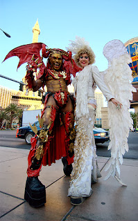"Las Vegas Halloween ""Devil and Angel"" dressed up for Halloween!"