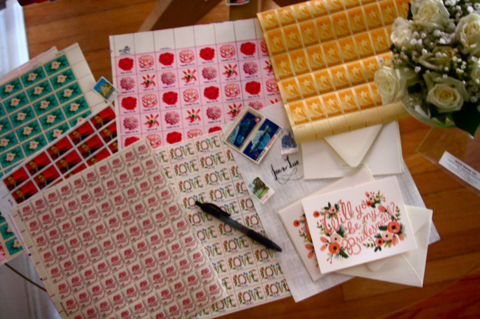 rebuild health and home vintage stamp collection for wedding save the dates, invites, and bridesmaid cards