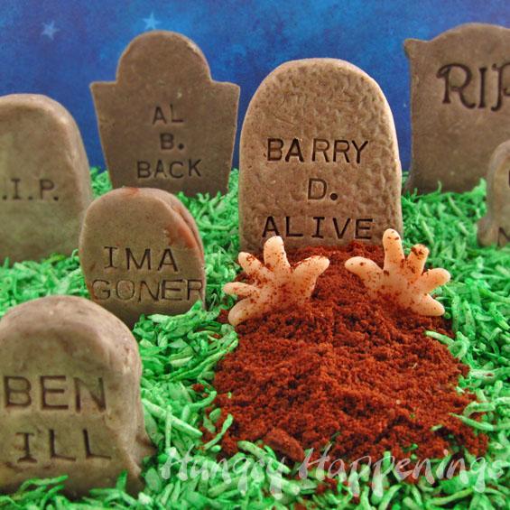 add clever epitaphs to cookies n cream fudge tombstones this halloween - Funny Halloween Tombstones