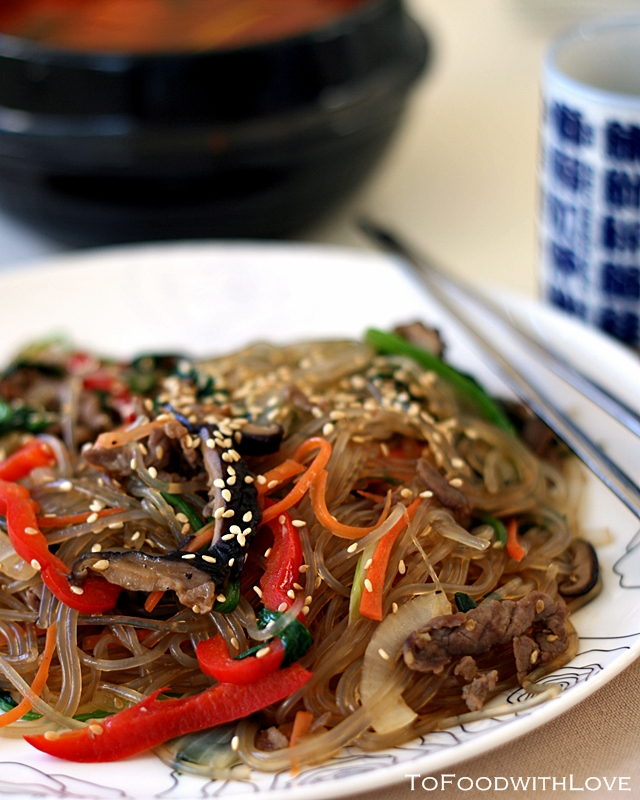 To Food with Love: Japchae (Korean Stir-fried Sweet Potato ...