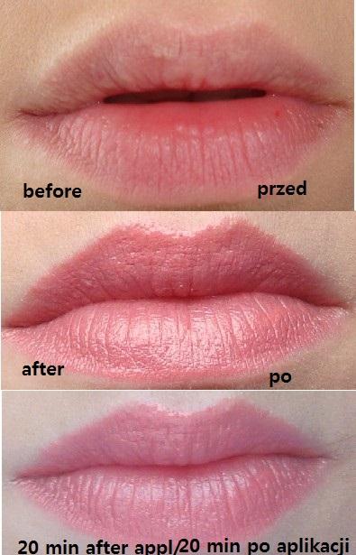 before&after Szminka Usta w Pełni w kolorze In the Pink / Avon Plump Pout Lipstick in In the Pink powiększenie / pouting properties