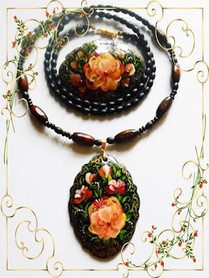 Set of jewelry Brooch and Pendant with the author's paintings in handmade in the folk style of Russian Volkhovskaya.