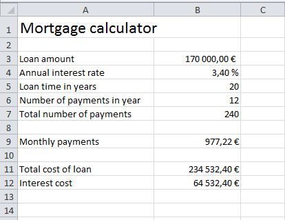 excel mortgage functions