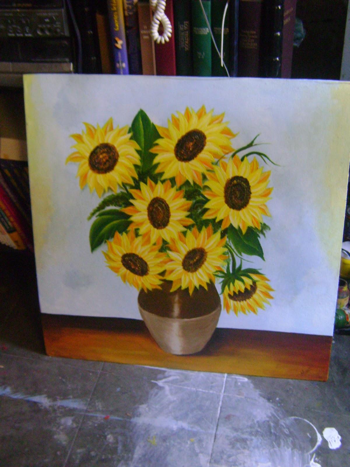Pinedaart un vistazo al arte y mas oleo girasoles - Pinturas para metal ...
