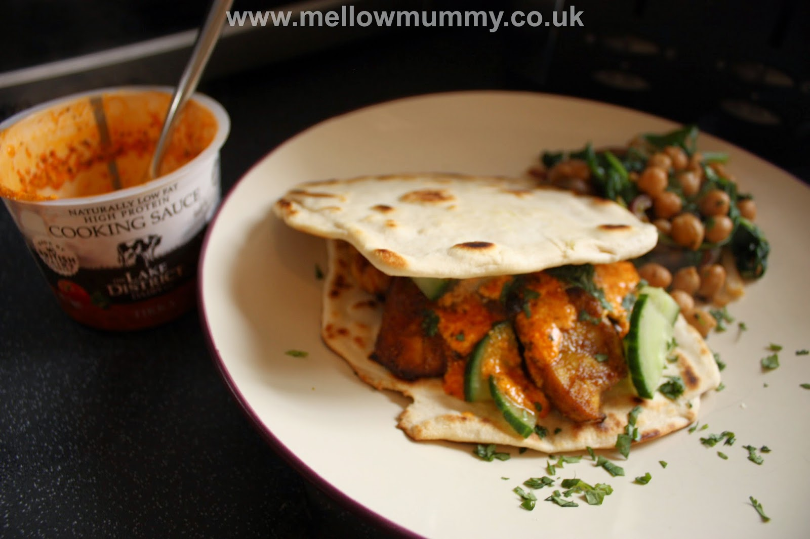 Tandoori chicken roti with Tikka quark cooking sauce