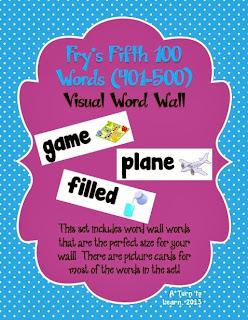 http://www.teacherspayteachers.com/Product/Visual-Word-Wall-Cards-Frys-Fifth-100-Words-836432