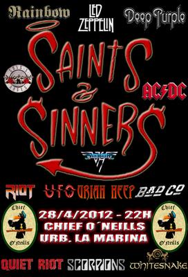 cartelera Actuación Saints & Sinners en Chief O'Neils - Urb La Marina - 28-04-2012