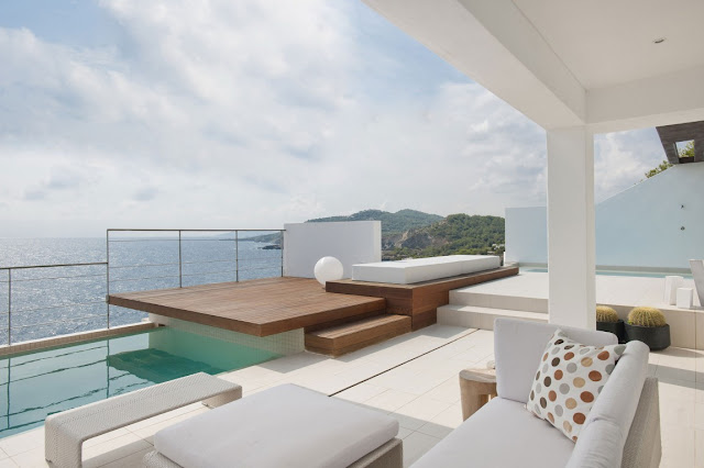 Beautiful terrace with multiple levels above the sea