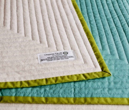 Quilting view of custom organic baby quilt by Organic Quilt Company