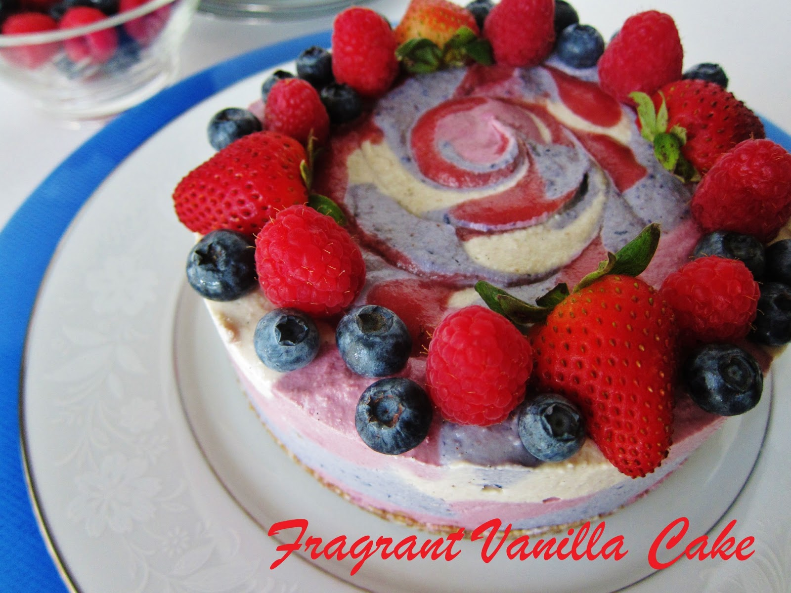 Fragrant Vanilla Cake: Raw Red White and Blue Dream Cake