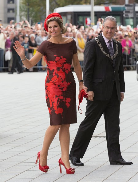 Queen Maxima and Rotterdam mayor Ahmed Abutaleb of The Netherlands attend the opening of the new Markthal on 01.10.2014 in Rotterdam, Netherlands.