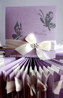 Ribbon butterfly wedding invitation card