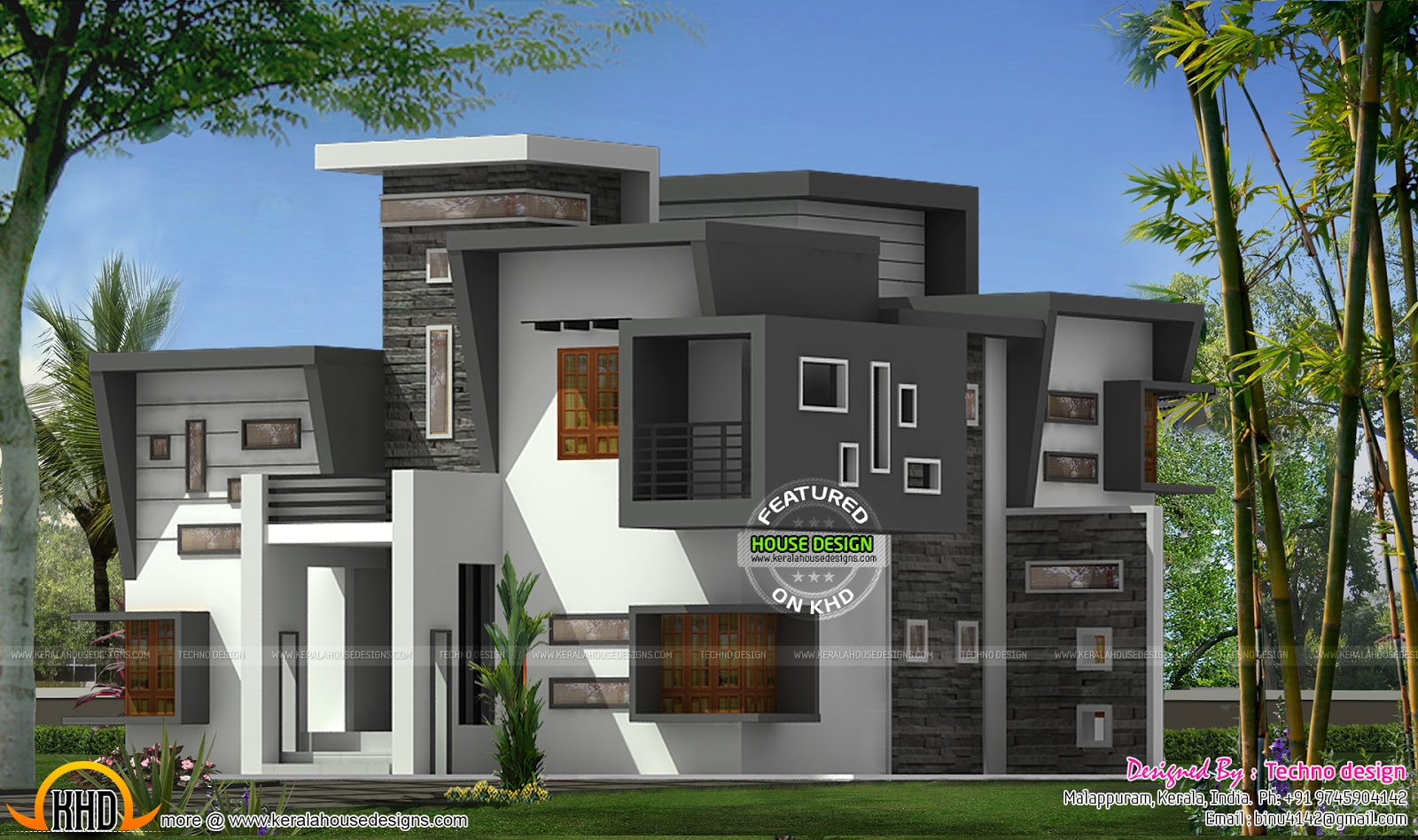 Contemporary flat roof house kerala home design and for Kerala home designs com