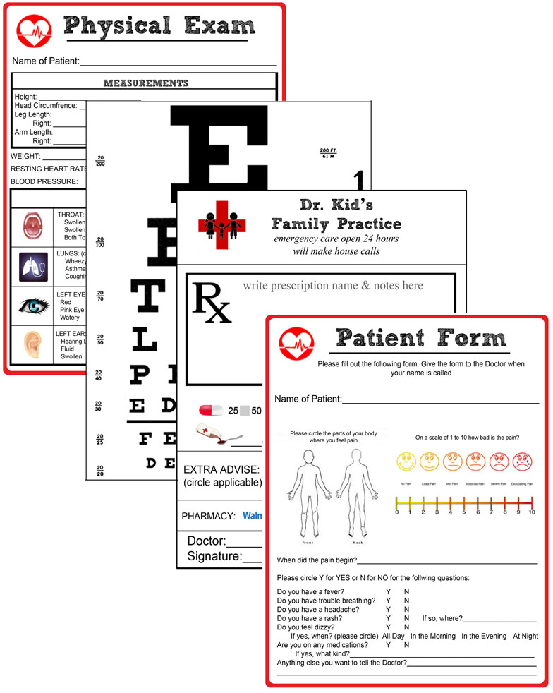 Miss Poppins Doctor Pretend Play Kit – Free Printable Doctor Forms