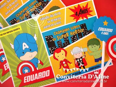 convite super heróis avengers vingadores