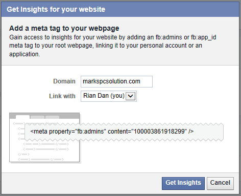 Claim your domain on Facebook Insights