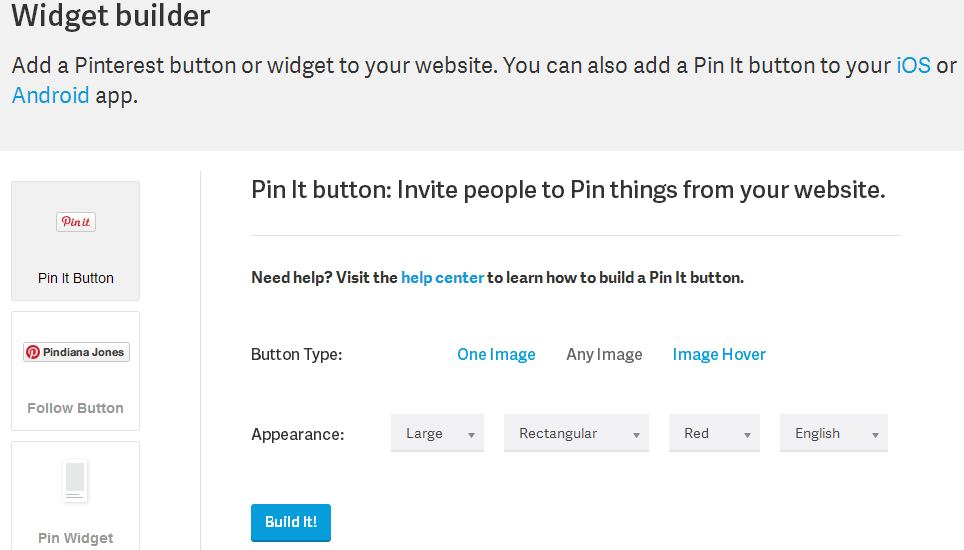 Widget Builder Pin It