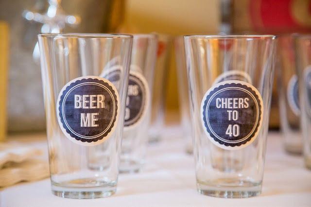 40th birthday pint glasses with stickers