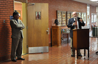 Dr Friel is pictured with Dr. Vincent Webb, Dean of the College of Criminal Justice.