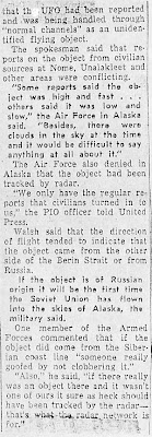 NORAD PROBES FLYING OBJECT - Anchorage Daily News (Part 4) 2-16-1960