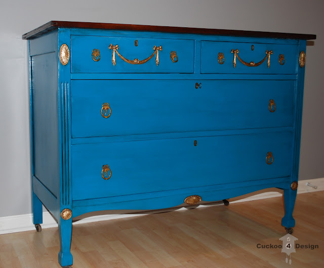 rustoleum lagoon and gold leaf dresser