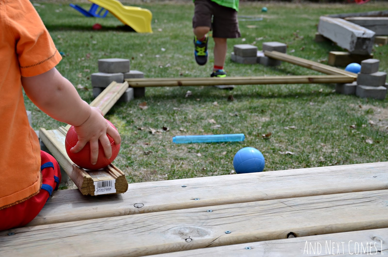 diy outdoor ball run building with loose parts and next comes l