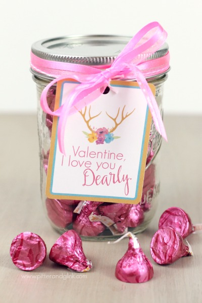 "Free Printable ""Dearly"" Valentine Jar Tags. Antlers and watercolor flowers? Yes! pitterandglink.com"