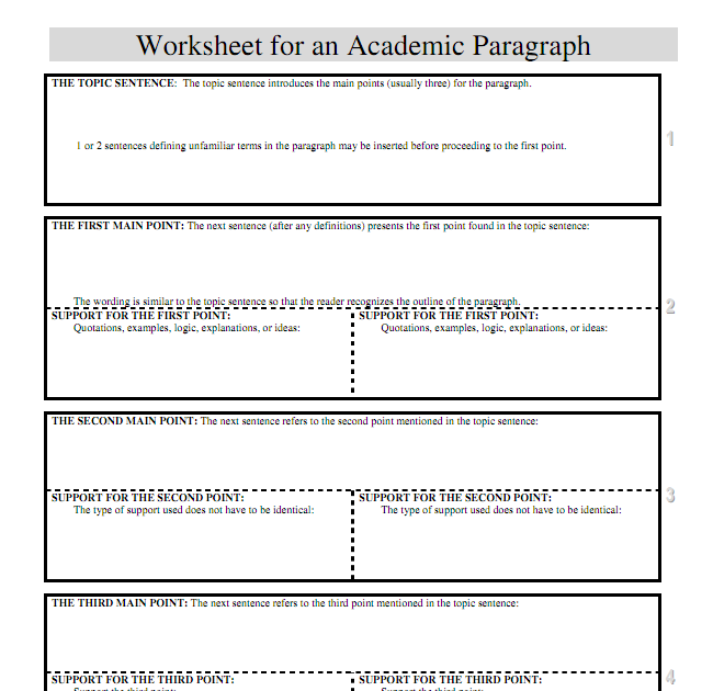 Star Blogs All Paragraph Structure Worksheet