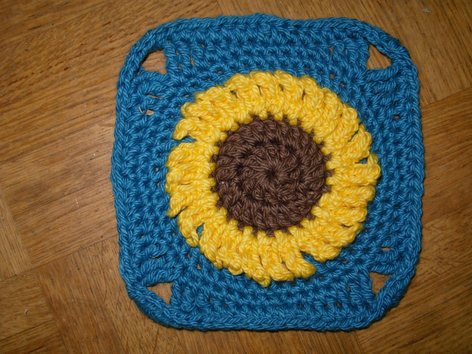 gehäkelte Sonnenblume auf Granny