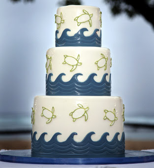 blue and white beach themed cake