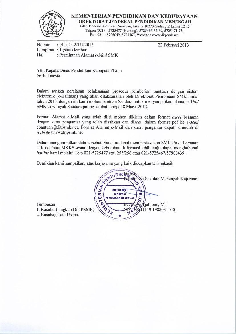 Surat Permintaan Alamat E Mail Smk Komunitas Smk Kabupaten Grobogan