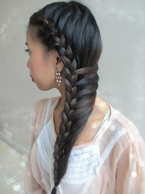 real asian beauty side-swept mermaid