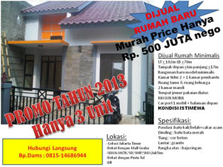 Jual Rumah Minimalis Murah di Jakarta Timur