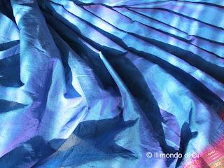 Sari indiano in cotone, azzurro intenso